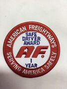 American Freightways Safe Driver Award Embroidered Patch And Pin, Year 1