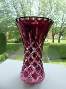 Vintage Czech Bohemian Ceasar Cranberry To Clear Hand Cut Crystal Vase