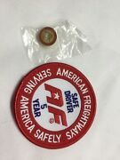 American Freightways Safe Driver Award Embroidered Patch And Pin, Year 5