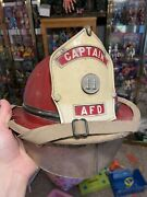Rare Vintage Cairns Leather Fire Fighter Helmet Red Captain Afd Really Nice
