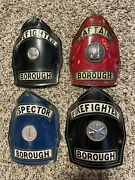 Rare Lot Of 4 Leather Fire Fighter Helmet Badges Red/black And Blue Captain Nice