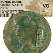 Claudius Coin Nero C/m Ncapr. Ric 110 Ancient Roman Imperial Andaelig As Coin Rome Mint