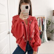 The Great. Meadow Bobble Cardigan Red Size S