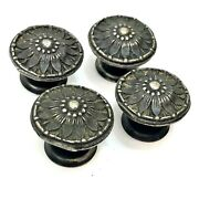 Set Of 4 Nickel Plated Drawer Knobs 1940's Ornate Cast Brass Handles Pulls
