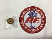 American Freightways Safe Driver Award Embroidered Patch And Pin, Year 6
