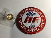 American Freightways Safe Driver Award Embroidered Patch And Pin, Year 7