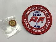 American Freightways Safe Driver Award Embroidered Patch And Pin, Year 8