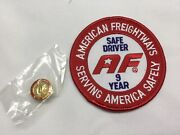 American Freightways Safe Driver Award Embroidered Patch And Pin, Year 9