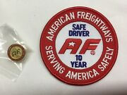 American Freightways Safe Driver Award Embroidered Patch And Pin, Year 10