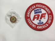 American Freightways Safe Driver Award Embroidered Patch And Pin, Year 11