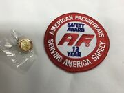 American Freightways Safe Driver Award Embroidered Patch And Pin, Year 12