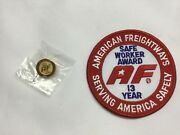 American Freightways Safe Driver Award Embroidered Patch And Pin, Year 13