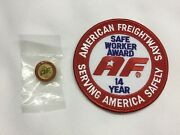 American Freightways Safe Driver Award Embroidered Patch And Pin, Year 14