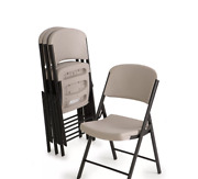 Lifetime Commercial Grade Contoured Folding Chair Putty On Grey