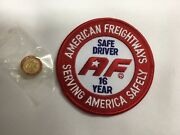 American Freightways Safe Driver Award Embroidered Patch And Pin, Year 16