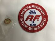 American Freightways Safe Driver Award Embroidered Patch And Pin, Year 17