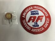 American Freightways Safe Driver Award Embroidered Patch And Pin, Year 18