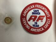 American Freightways Safe Driver Award Embroidered Patch And Pin, Year 19