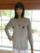 Wom And Now Barcelona Gray Knit Embellished L Sleeve Lightweight Sweater Top M New