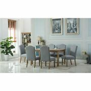 Monotanian Solid Wood Dining Table With 6 Nailhead Trim Grey 7-piece Sets