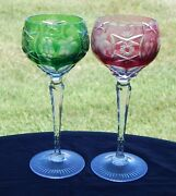 2 Nachtmann Traube Cut To Clear Wine Goblet Stems - Pink Green 8 1/4