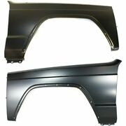 Fender Set For 1984-1996 Jeep Cherokee Front Primed Steel W/ Molding Holes Pair