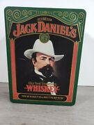 Jack Daniels Old 7 Whiskey Green Hinged Lid Metal Tin Made In England