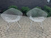 Vintage 1960's Pair Of Harry Bertoia Knoll Wire Diamond Lounge Outdoor Chairs