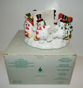 Nib Partylite Frolicking Frostys P7364 Snowman Candle Holder