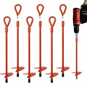 6pcs Earth Ground Anchors Heavy Duty 15 Inch, Easy To Use With Drill, For