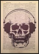 Skull Skeleton Wall Art Vintage Dictionary Page Print Picture Head Phones Ear