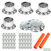Chrome Hub Cover Semi Truck Wheel Kit Axle Cover 33mm Lug Front And Rear Complete