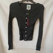 Unif Womens Cardigan Sweater Black Cotton Long Sleeve V Neck Ribbed Button S New