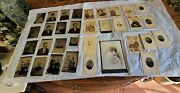 Antique Lot Of 33 Portrait Pictures Tin And Regularcirca 1870-1940 Free Ship