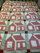 Vintage Quilt Cabin House Pattern 70x72 Cutter Repurpose Display