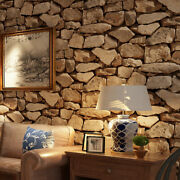 Vintage 3d Stone Effect Wallpaper Roll Modern Rustic Realistic Faux Stone Roll