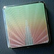 Art Deco Stg Silver And Fading Pink And Green Enamel Compact H/m 1947 Joseph Gloster