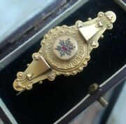 Victorian Etruscan 9ct Gold Ruby And Diamond Sweetheart Or Mourning Brooch Locket