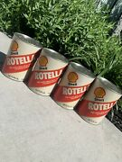 Vintage Usa Shell Rotella Oil 1 Quart Can Lot 4 Cans Emptied