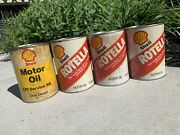 Vintage Usa Shell Rotella Oil And Api Service 1 Quart Cans Lot Of 4 Empty