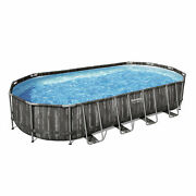 Bestway 24 Ft X 12 Ft X 48 In Steel Frame Above Ground Swimming Pool Open Box