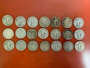 Lot Of 21 - Standing Liberty Quarters - 90 Silver - 1917-1929