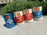 Vintage Usa Shell Rotella Oil And Transmission Fluid 1 Quart Cans Lot Of 4 Empty