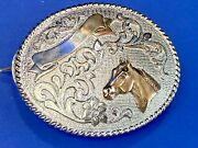 Beautiful Tom Taylor Horse Head Bust Rodeo Trophy Style Ribbon Belt Buckle