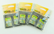 3m Post-it 3 Pack Lot Yellow W/ Green Text Sign And Date Flags 100ea 300 Total