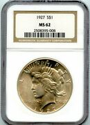 1927 1 Peace Silver Dollar Coin Ngc Ms 62