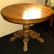 Antique French Carved Oak Dining Hunt Table W/carved Fox Legs Circa 1890-1910