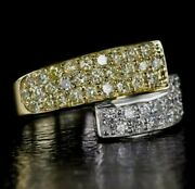 Ideal Cut 1.53ct F/g White And Yellow Natural Mined Diamonds Dual-band Ring.