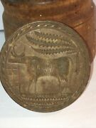 Rare Antique Large Wood Cylinder Form Cow Design Butter Mold Print Press As Is