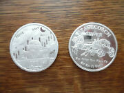 2 1 Oz Each .999 Fine Silver Rounds Stagecoach 1/4 Divisible And Wallstreet Bu